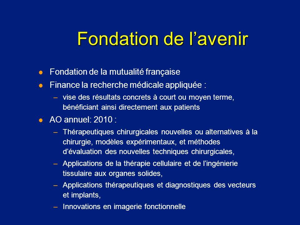 Fondation de lavenir l Fondation de la mutualité française l Finance la recherche médicale appliquée : –vise des résultats concrets à court ou moyen t