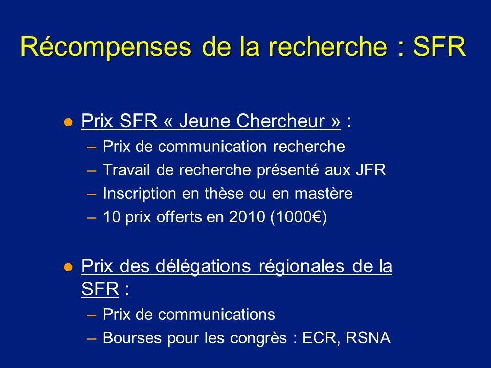 Récompenses de la recherche : SFR l Prix SFR « Jeune Chercheur » : –Prix de communication recherche –Travail de recherche présenté aux JFR –Inscriptio