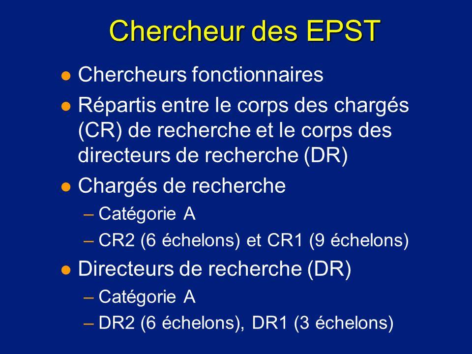 Chercheur des EPST l Chercheurs fonctionnaires l Répartis entre le corps des chargés (CR) de recherche et le corps des directeurs de recherche (DR) l