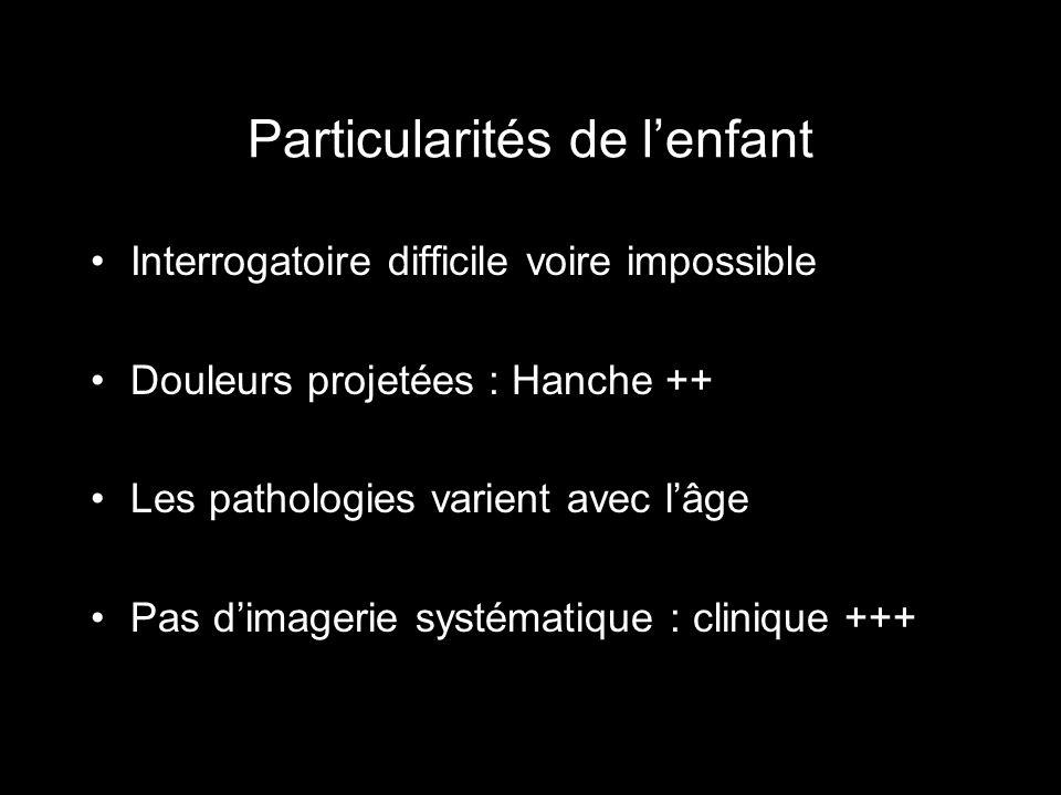 Particularités de lenfant Interrogatoire difficile voire impossible Douleurs projetées : Hanche ++ Les pathologies varient avec lâge Pas dimagerie sys