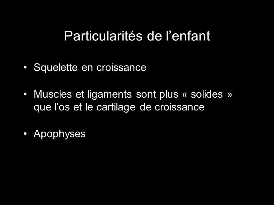 Particularités de lenfant Squelette en croissance Muscles et ligaments sont plus « solides » que los et le cartilage de croissance Apophyses