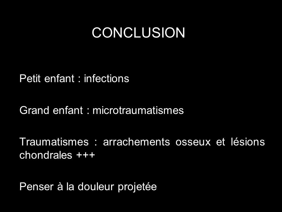 CONCLUSION Petit enfant : infections Grand enfant : microtraumatismes Traumatismes : arrachements osseux et lésions chondrales +++ Penser à la douleur