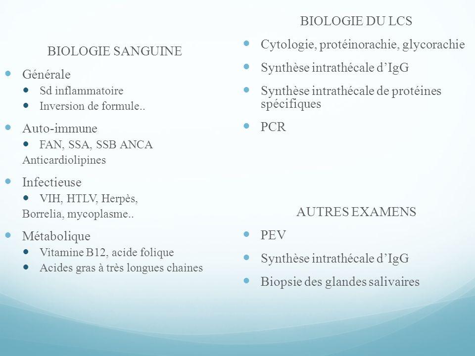 BIOLOGIE SANGUINE Générale Sd inflammatoire Inversion de formule..
