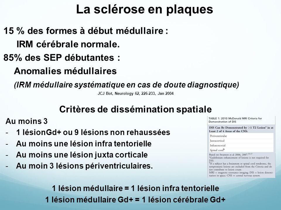La sclérose en plaques 15 % des formes à début médullaire : IRM cérébrale normale.