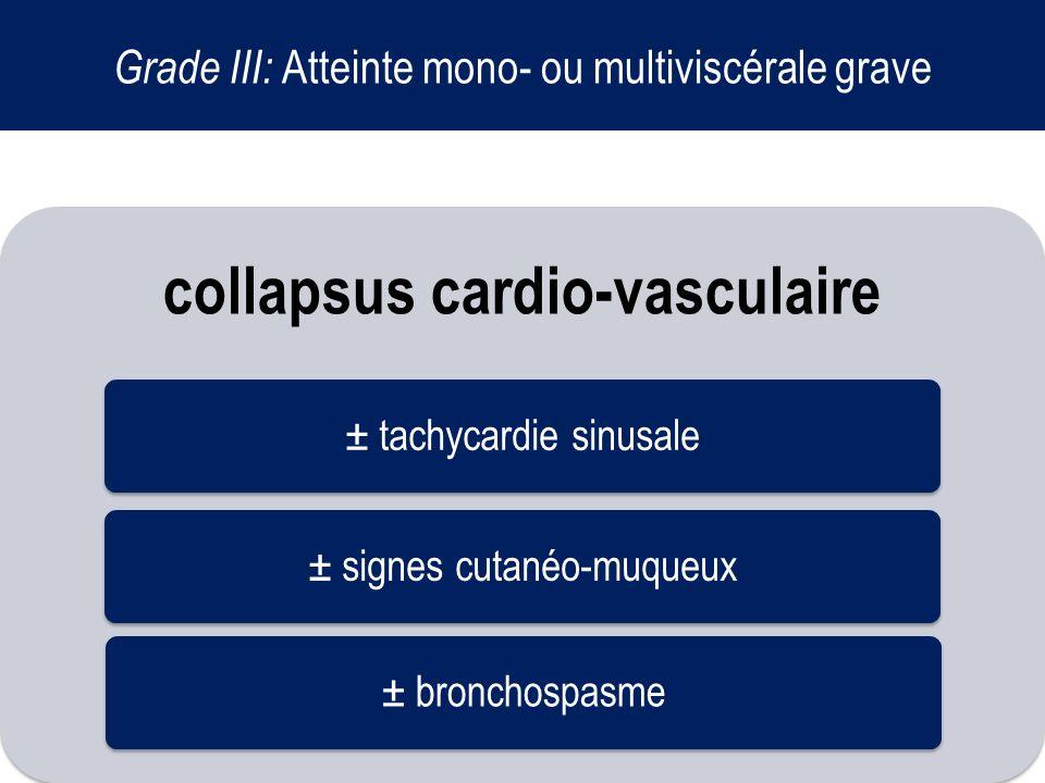 Grade III: Atteinte mono- ou multiviscérale grave collapsus cardio-vasculaire ± tachycardie sinusale± signes cutanéo-muqueux± bronchospasme