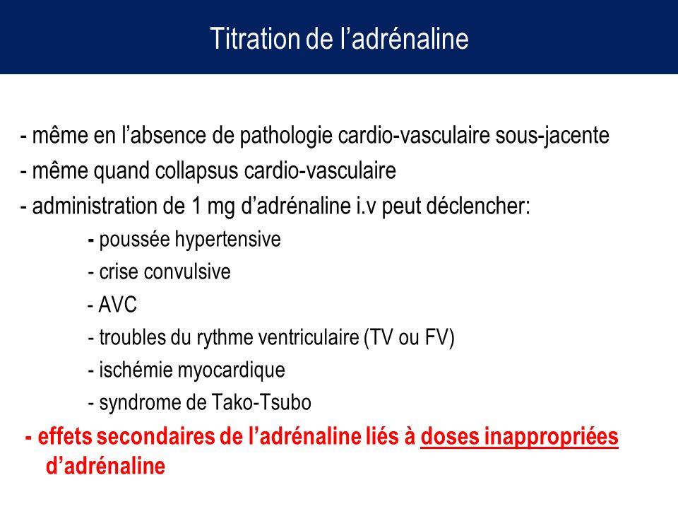 Titration de ladrénaline - même en labsence de pathologie cardio-vasculaire sous-jacente - même quand collapsus cardio-vasculaire - administration de