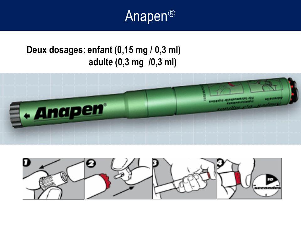 Anapen Deux dosages: enfant (0,15 mg / 0,3 ml) adulte (0,3 mg /0,3 ml)