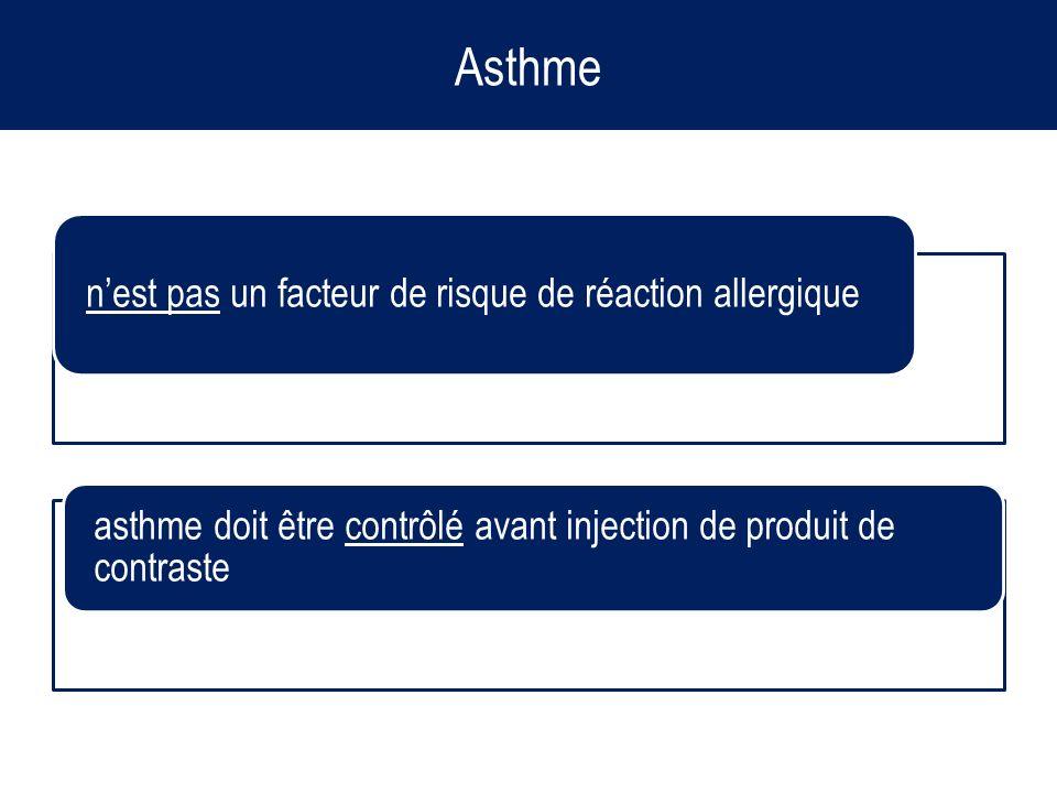 Asthme nest pas un facteur de risque de réaction allergique asthme doit être contrôlé avant injection de produit de contraste