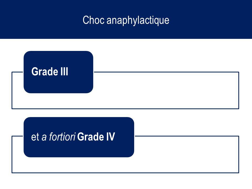Choc anaphylactique Grade III et a fortiori Grade IV