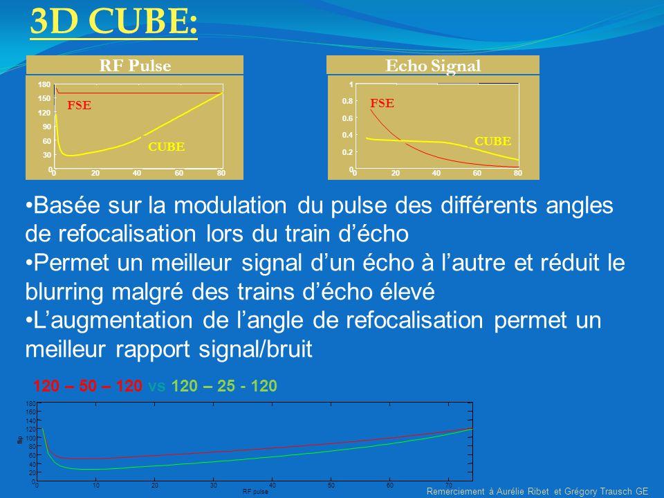 RF Pulse 020406080 0 30 60 90 120 150 180 FSE CUBE Echo Signal 020406080 0 0.2 0.4 0.6 0.8 1 FSE CUBE 3D CUBE: Basée sur la modulation du pulse des di