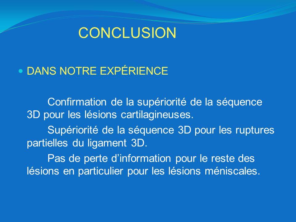 CONCLUSION DANS NOTRE EXPÉRIENCE Confirmation de la supériorité de la séquence 3D pour les lésions cartilagineuses. Supériorité de la séquence 3D pour