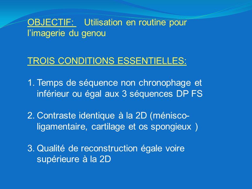 TEMPS DE SÉQUENCE: 3D cube=630 +/- 30s + 20s de pré scanning 2D trois plans= 3mn07 +2mn+2mn + 20s de pré scanning par séquence (60s) Paramètres temporels: Temps de Répétition Train dEcho Matrice Phase FOV Nombre dexcitation Volume dacquisition Whole volume Facteur daccélération ARC :accélération dans lespace de fourrier synthétise les données manquantes entre des données réelles 1.en phase 2.en coupe 3.les deux