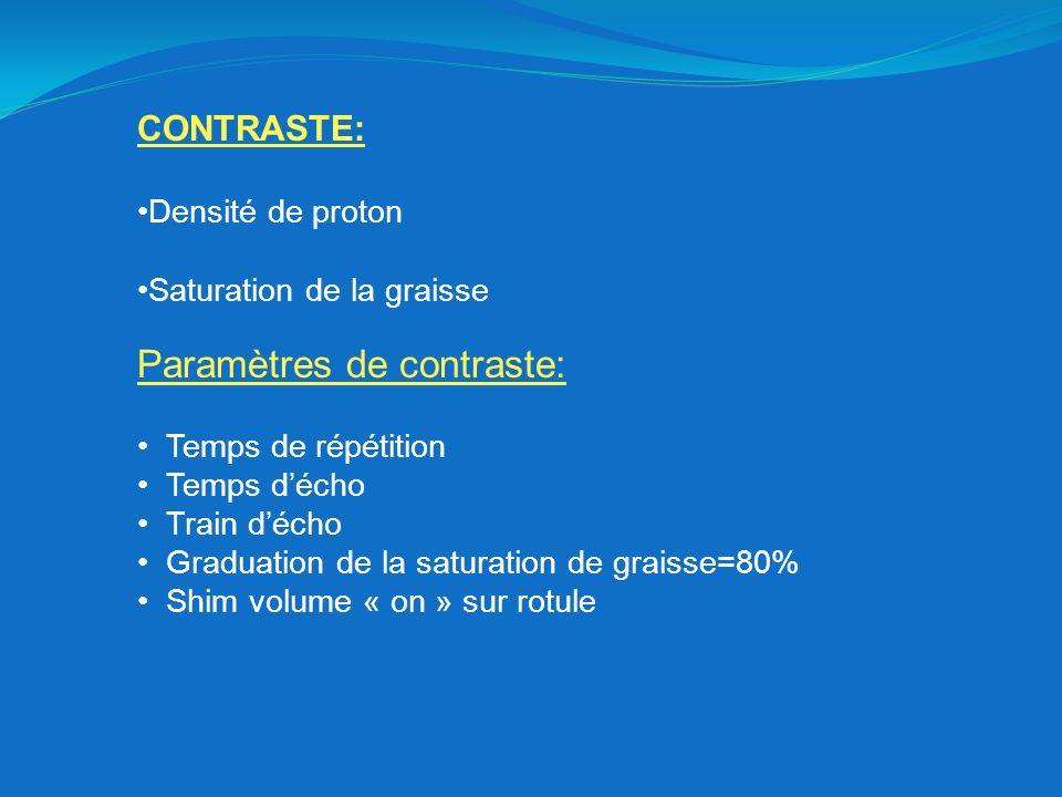 CONTRASTE: Densité de proton Saturation de la graisse Paramètres de contraste: Temps de répétition Temps décho Train décho Graduation de la saturation