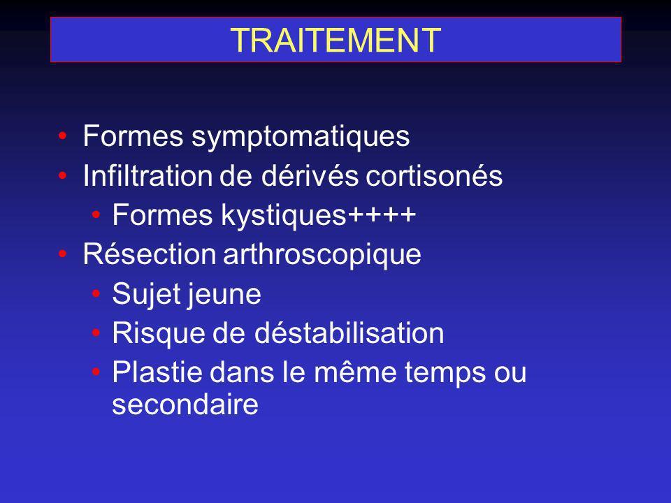 TRAITEMENT Formes symptomatiques Infiltration de dérivés cortisonés Formes kystiques++++ Résection arthroscopique Sujet jeune Risque de déstabilisatio