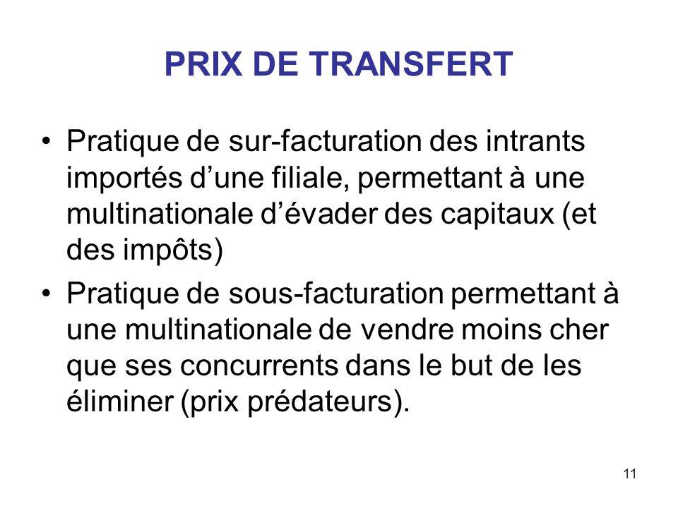 11 PRIX DE TRANSFERT Pratique de sur-facturation des intrants importés dune filiale, permettant à une multinationale dévader des capitaux (et des impô