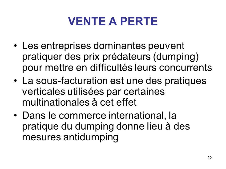 12 VENTE A PERTE Les entreprises dominantes peuvent pratiquer des prix prédateurs (dumping) pour mettre en difficultés leurs concurrents La sous-factu