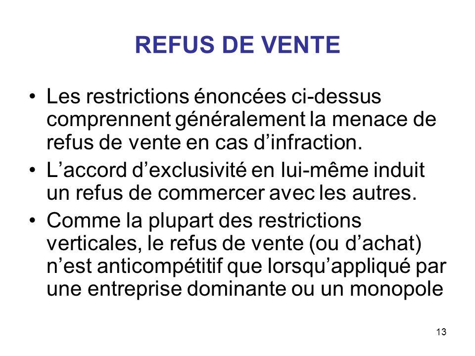 13 REFUS DE VENTE Les restrictions énoncées ci-dessus comprennent généralement la menace de refus de vente en cas dinfraction. Laccord dexclusivité en
