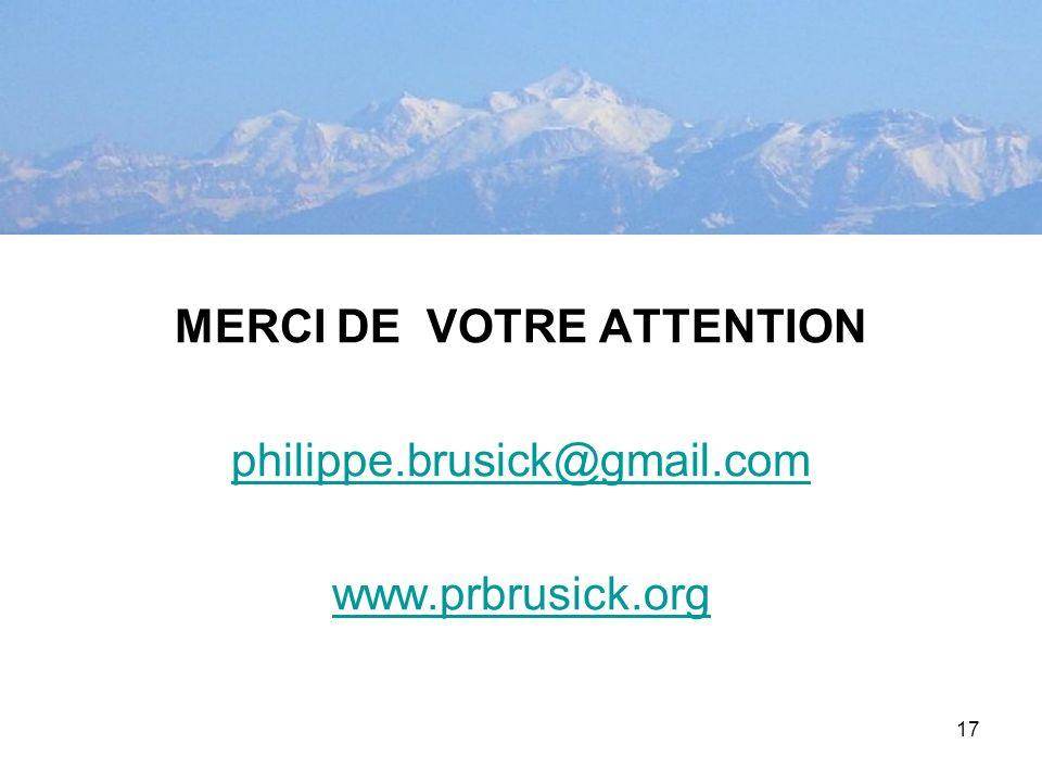 17 MERCI DE VOTRE ATTENTION philippe.brusick@gmail.com www.prbrusick.org