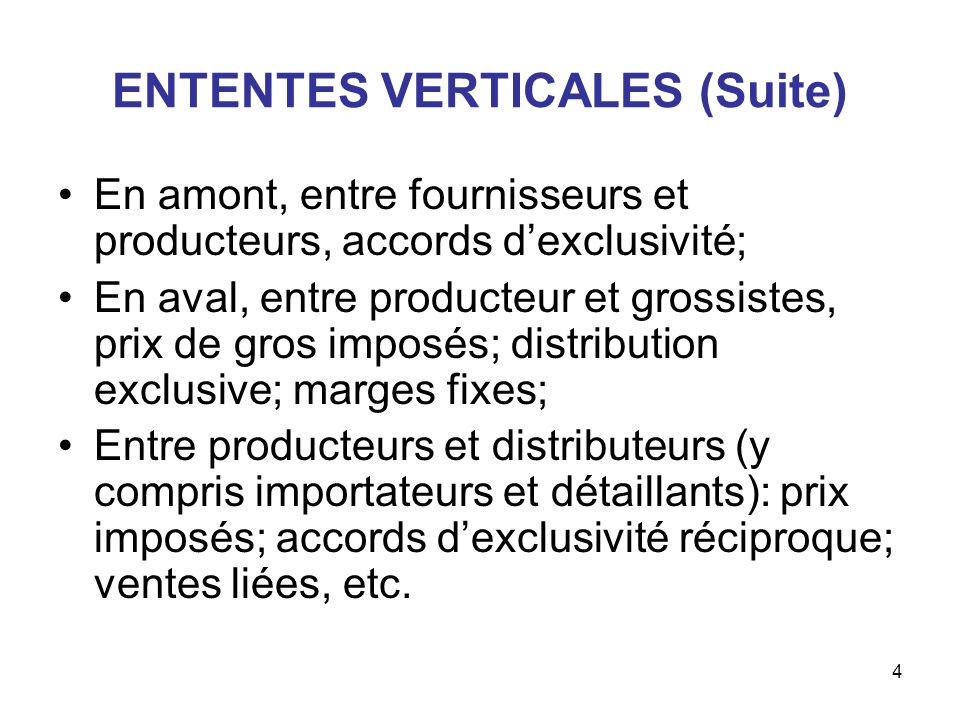 4 ENTENTES VERTICALES (Suite) En amont, entre fournisseurs et producteurs, accords dexclusivité; En aval, entre producteur et grossistes, prix de gros
