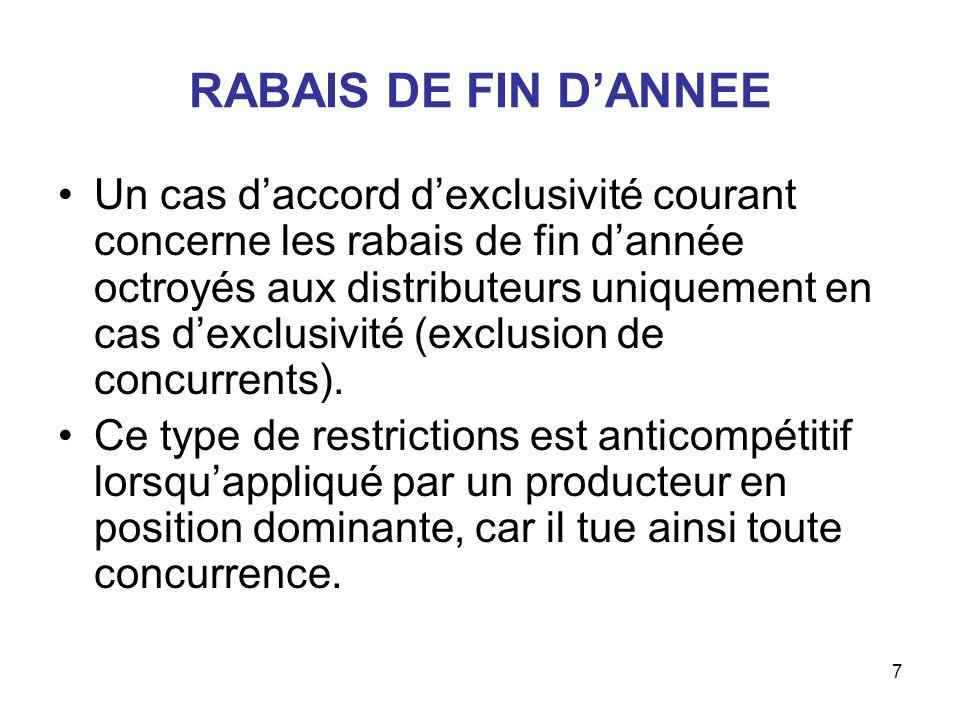 7 RABAIS DE FIN DANNEE Un cas daccord dexclusivité courant concerne les rabais de fin dannée octroyés aux distributeurs uniquement en cas dexclusivité