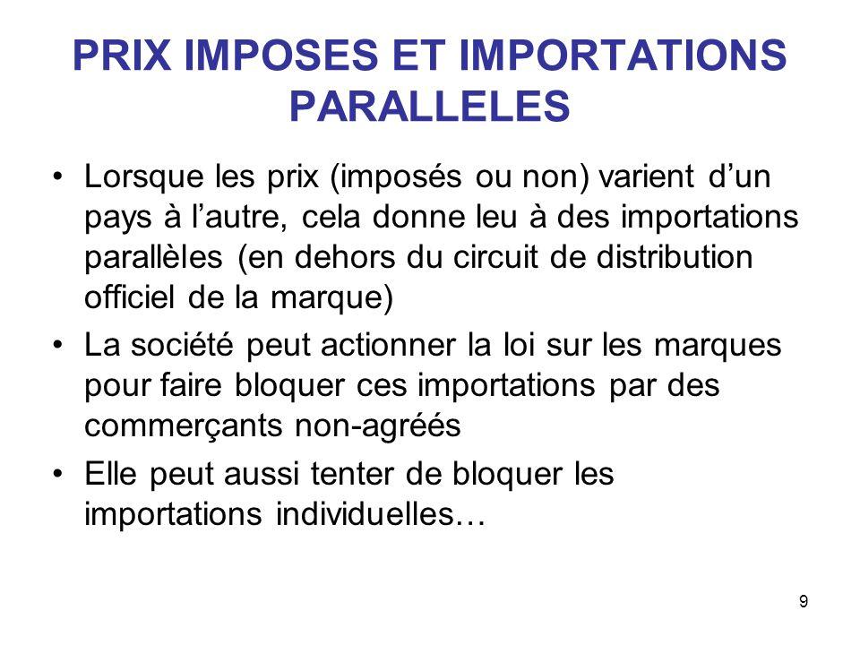 9 PRIX IMPOSES ET IMPORTATIONS PARALLELES Lorsque les prix (imposés ou non) varient dun pays à lautre, cela donne leu à des importations parallèles (e