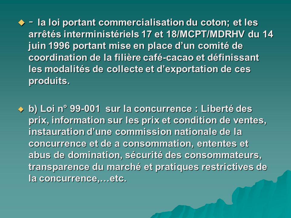 - la loi portant commercialisation du coton; et les arrêtés interministériels 17 et 18/MCPT/MDRHV du 14 juin 1996 portant mise en place dun comité de