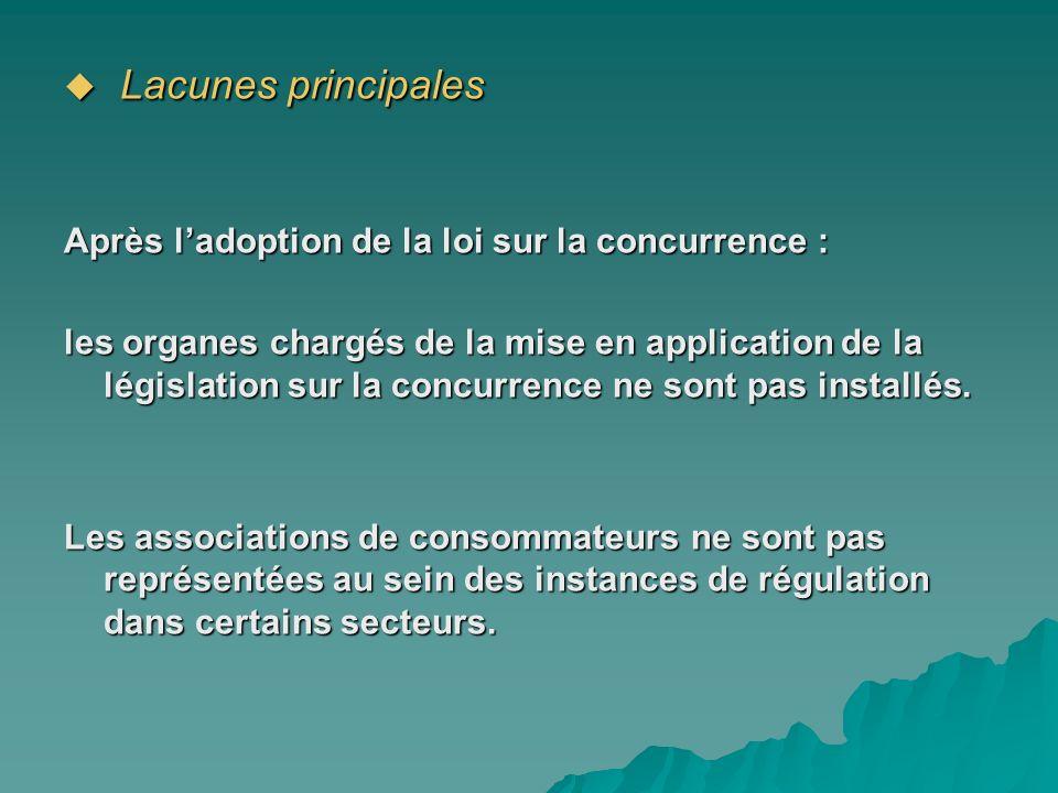 Lacunes principales Lacunes principales Après ladoption de la loi sur la concurrence : les organes chargés de la mise en application de la législation