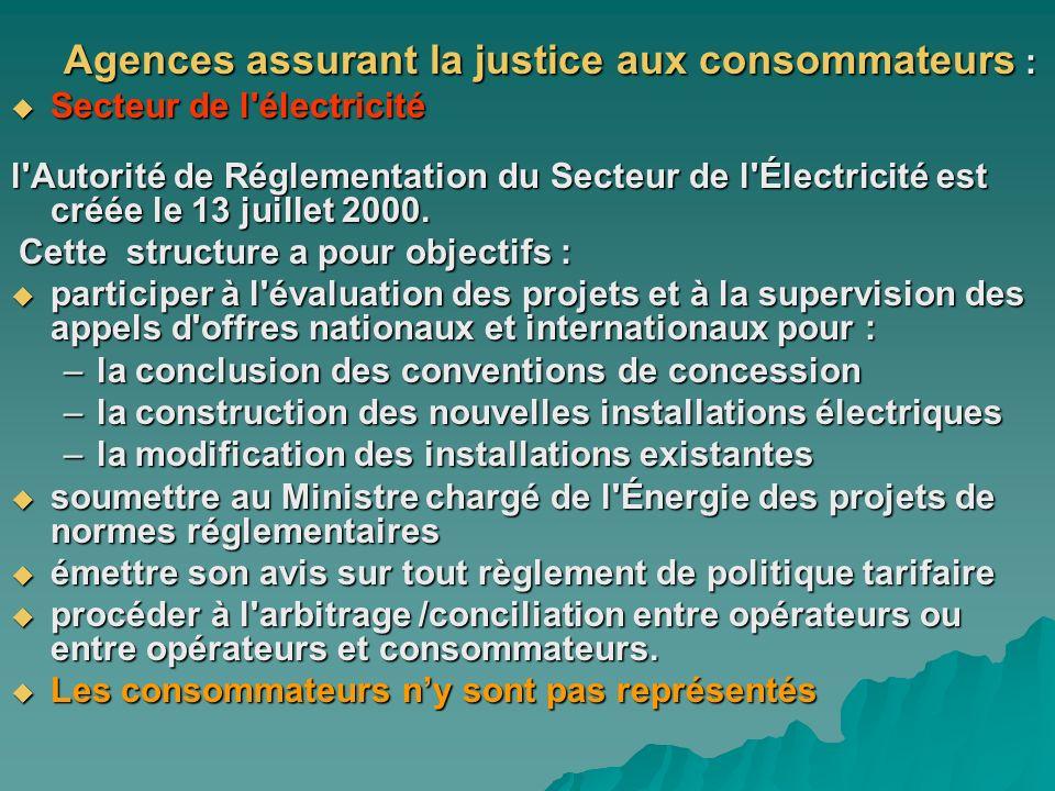 Agences assurant la justice aux consommateurs : Secteur de l'électricité Secteur de l'électricité l'Autorité de Réglementation du Secteur de l'Électri