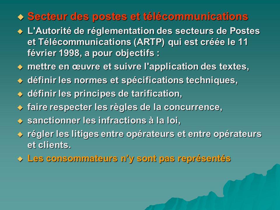 Secteur des postes et télécommunications Secteur des postes et télécommunications L'Autorité de réglementation des secteurs de Postes et Télécommunica