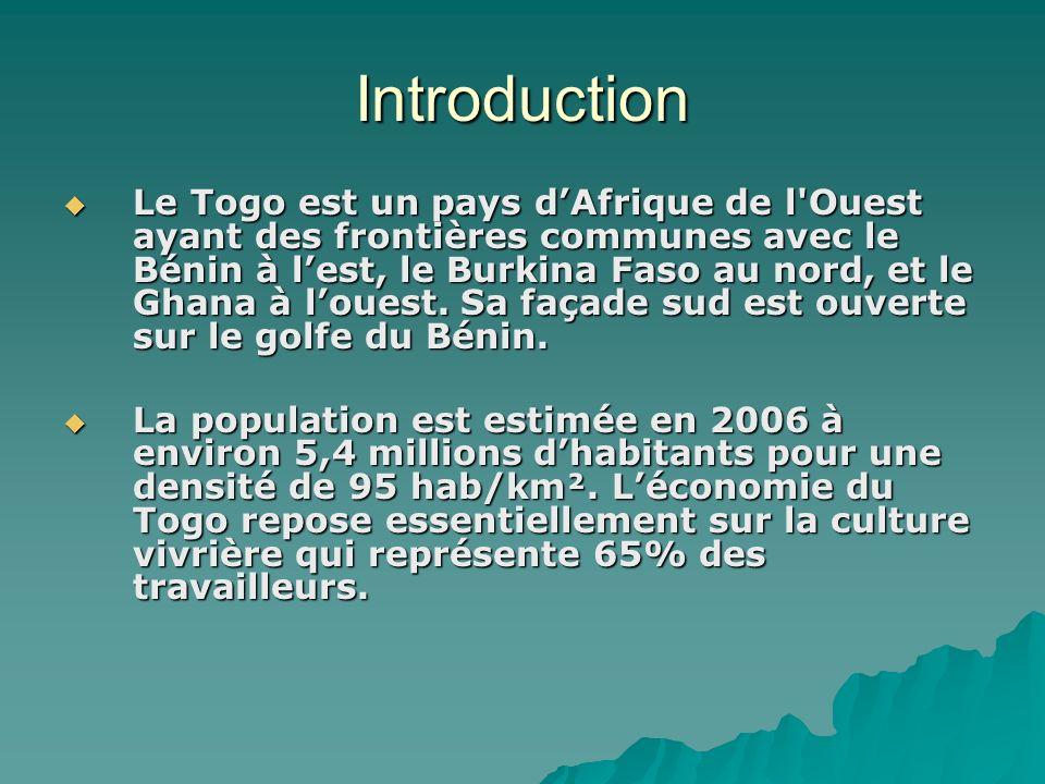 Introduction Le Togo est un pays dAfrique de l'Ouest ayant des frontières communes avec le Bénin à lest, le Burkina Faso au nord, et le Ghana à louest
