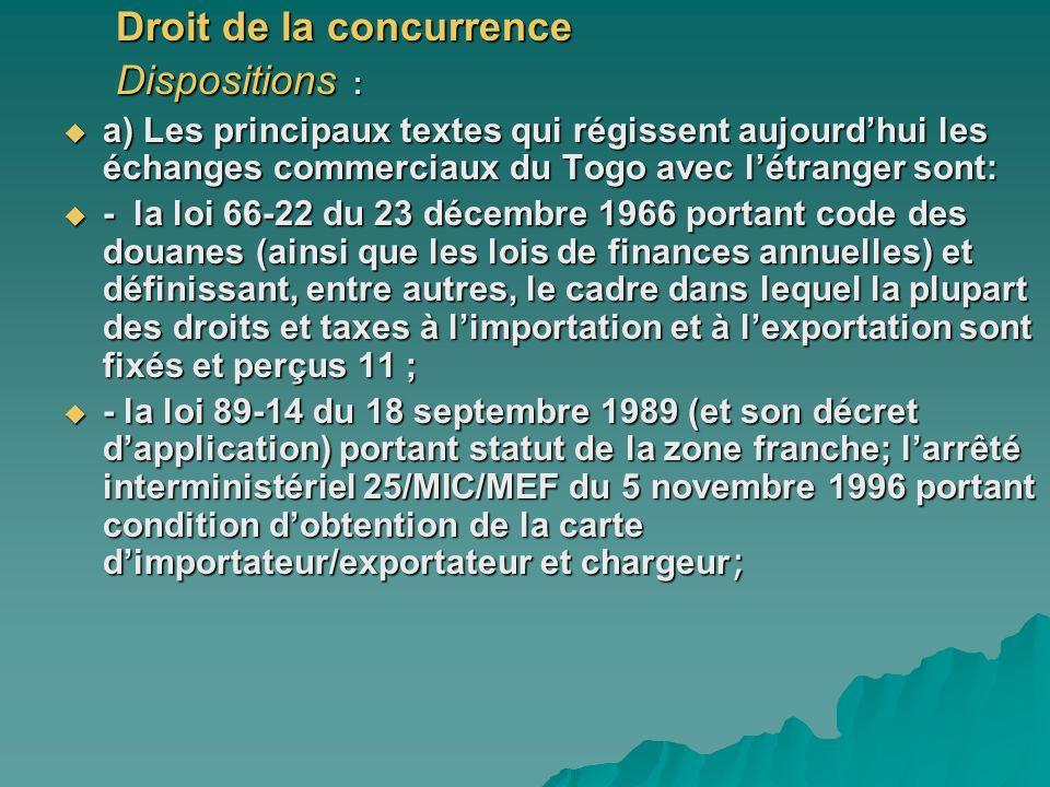 Droit de la concurrence Dispositions : a) Les principaux textes qui régissent aujourdhui les échanges commerciaux du Togo avec létranger sont: a) Les