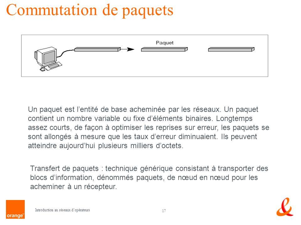 17 Introduction au réseaux dopérateurs Commutation de paquets Un paquet est lentité de base acheminée par les réseaux. Un paquet contient un nombre va