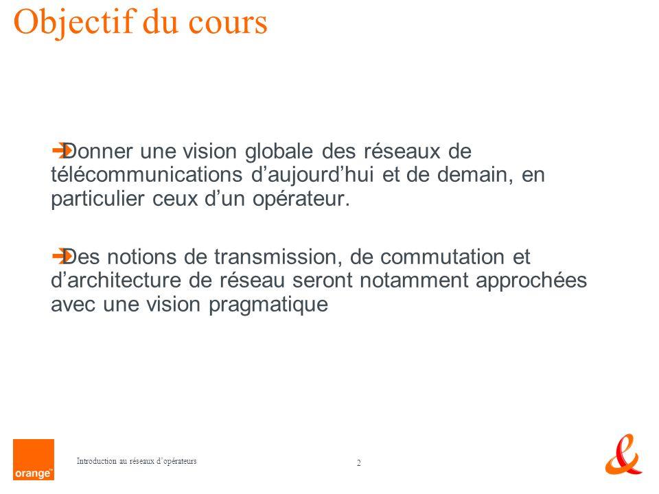 2 Introduction au réseaux dopérateurs Objectif du cours Donner une vision globale des réseaux de télécommunications daujourdhui et de demain, en parti