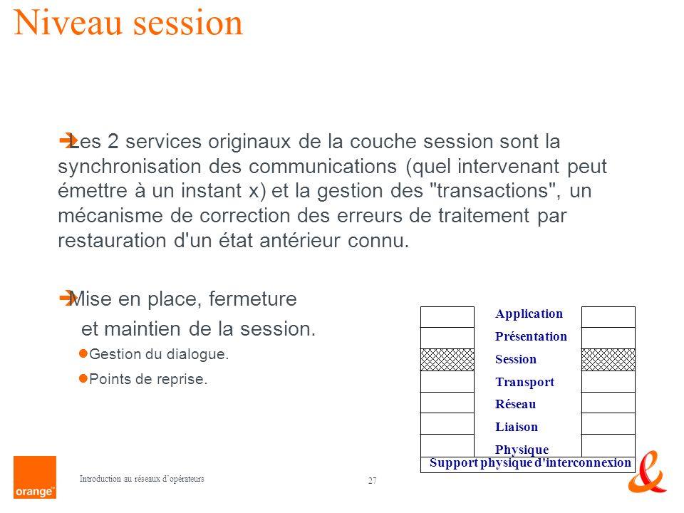 27 Introduction au réseaux dopérateurs Niveau session Les 2 services originaux de la couche session sont la synchronisation des communications (quel i