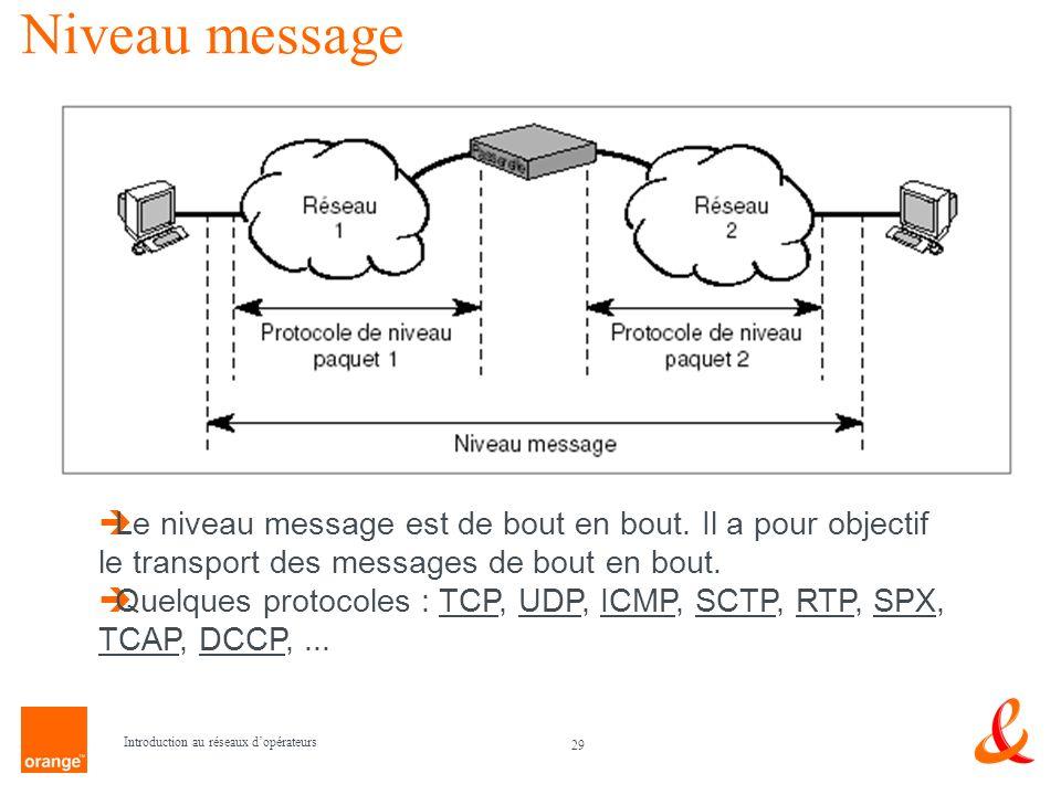 29 Introduction au réseaux dopérateurs Niveau message Le niveau message est de bout en bout. Il a pour objectif le transport des messages de bout en b