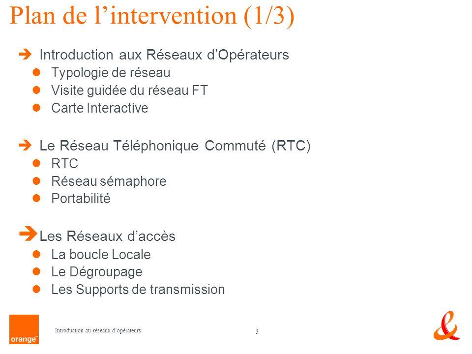 3 Introduction au réseaux dopérateurs Plan de lintervention (1/3) Introduction aux Réseaux dOpérateurs Typologie de réseau Visite guidée du réseau FT
