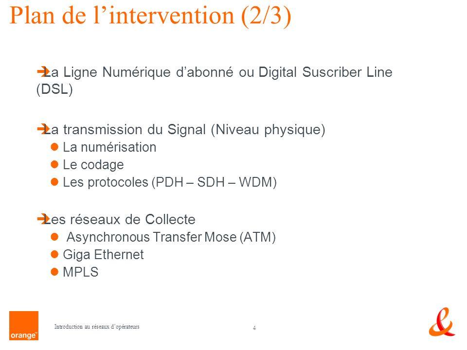 4 Introduction au réseaux dopérateurs Plan de lintervention (2/3) La Ligne Numérique dabonné ou Digital Suscriber Line (DSL) La transmission du Signal
