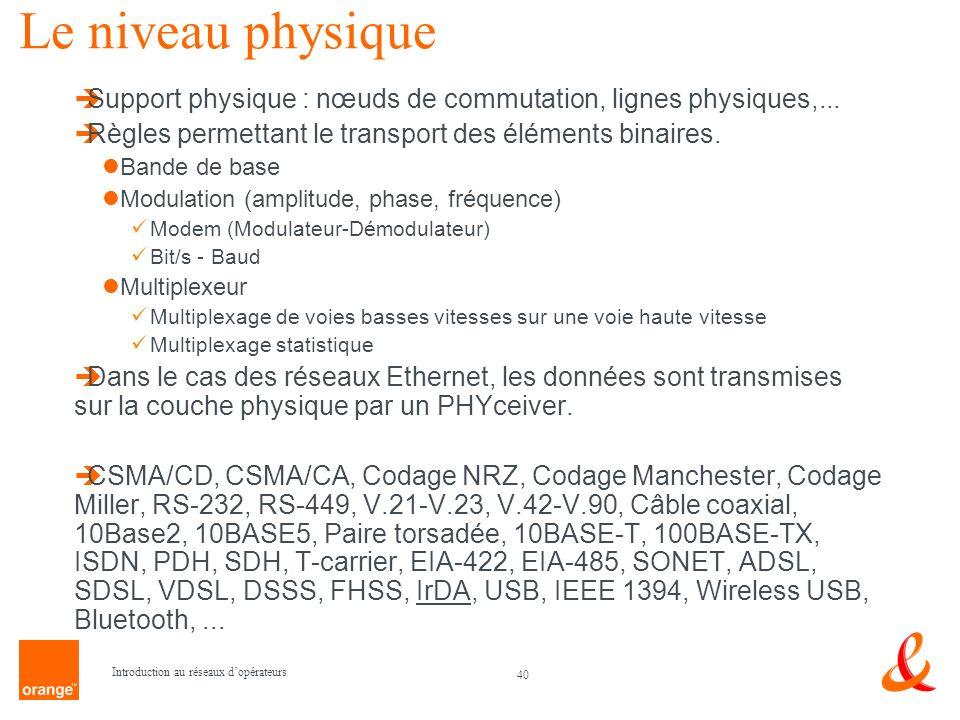 40 Introduction au réseaux dopérateurs Le niveau physique Support physique : nœuds de commutation, lignes physiques,... Règles permettant le transport