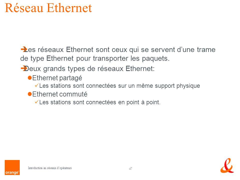 47 Introduction au réseaux dopérateurs Réseau Ethernet Les réseaux Ethernet sont ceux qui se servent dune trame de type Ethernet pour transporter les