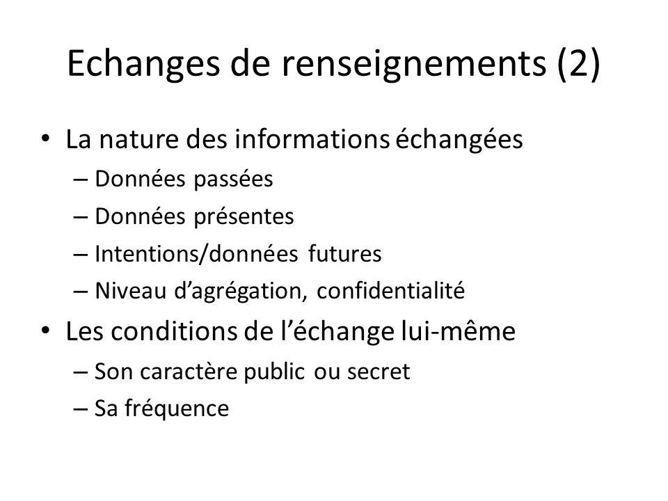 Echanges de renseignements (2) La nature des informations échangées – Données passées – Données présentes – Intentions/données futures – Niveau dagrég