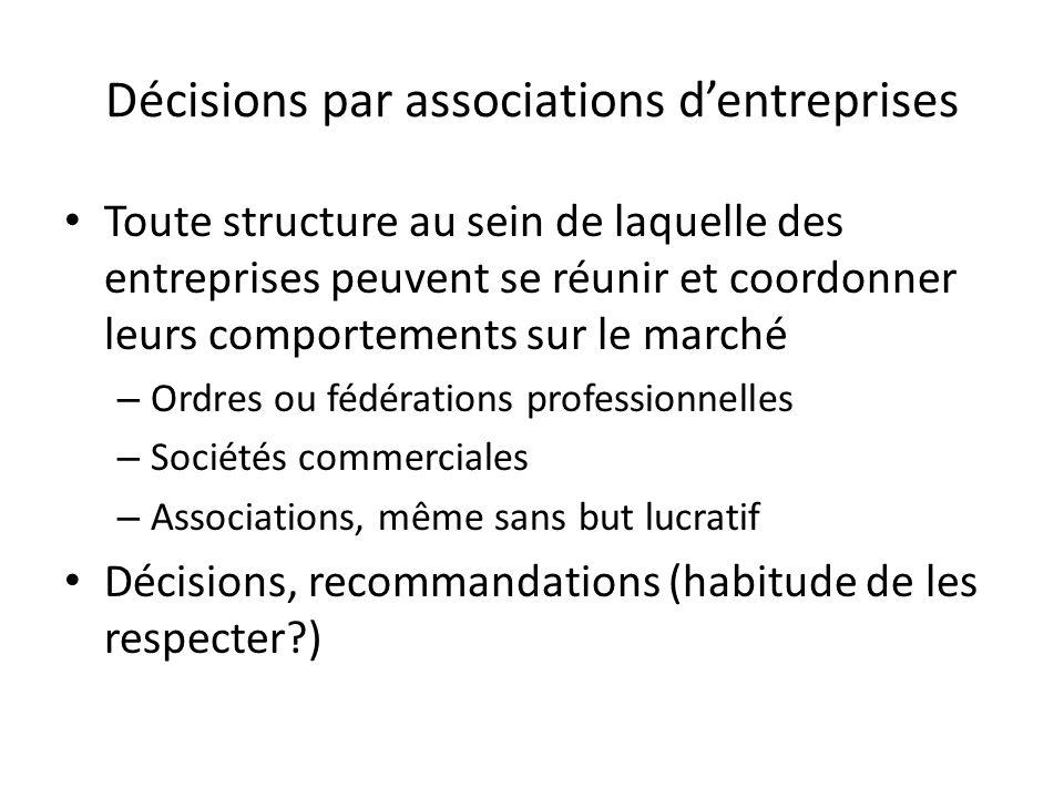 Décisions par associations dentreprises Toute structure au sein de laquelle des entreprises peuvent se réunir et coordonner leurs comportements sur le