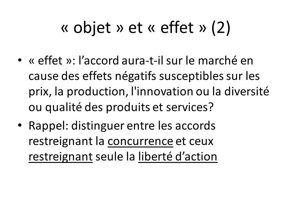 « objet » et « effet » (2) « effet »: laccord aura-t-il sur le marché en cause des effets négatifs susceptibles sur les prix, la production, l'innovat