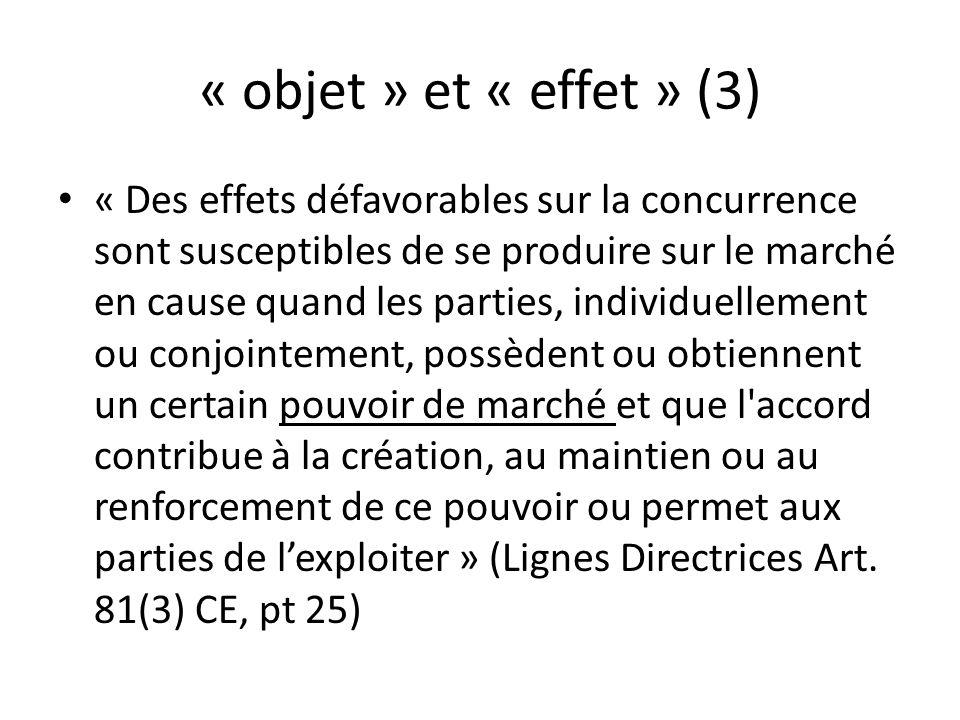 « objet » et « effet » (3) « Des effets défavorables sur la concurrence sont susceptibles de se produire sur le marché en cause quand les parties, ind