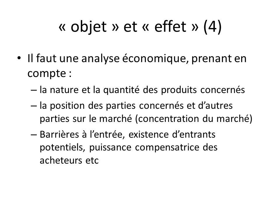 « objet » et « effet » (4) Il faut une analyse économique, prenant en compte : – la nature et la quantité des produits concernés – la position des par
