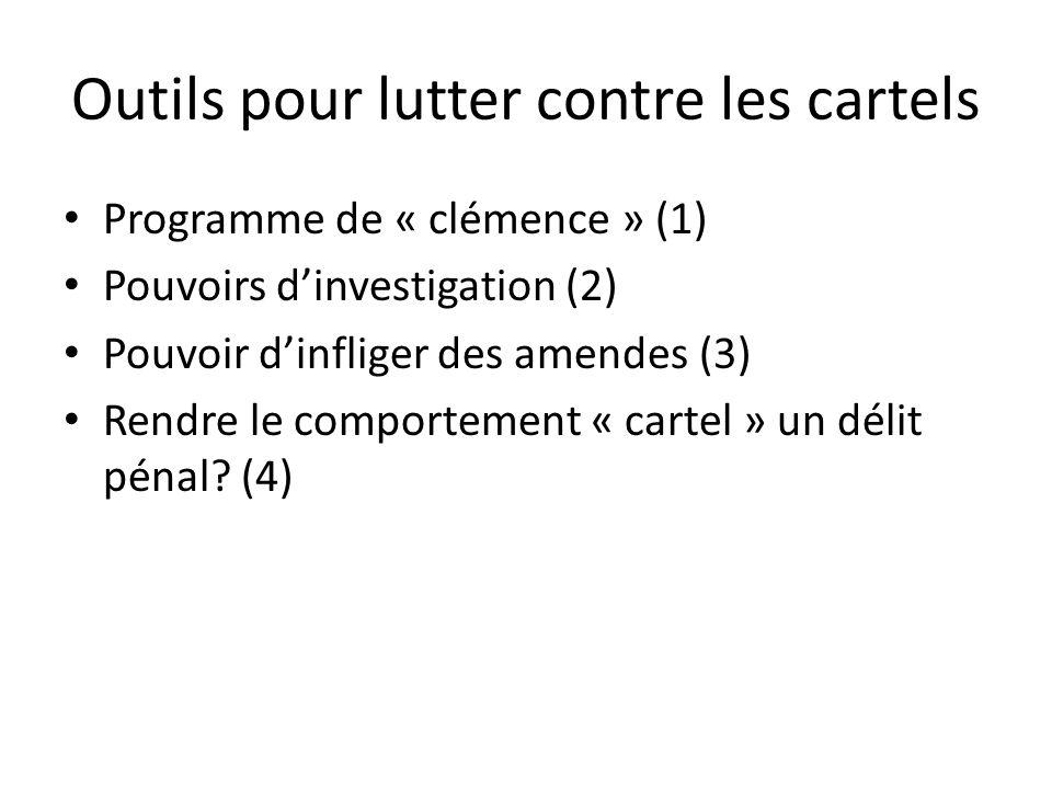 Outils pour lutter contre les cartels Programme de « clémence » (1) Pouvoirs dinvestigation (2) Pouvoir dinfliger des amendes (3) Rendre le comporteme