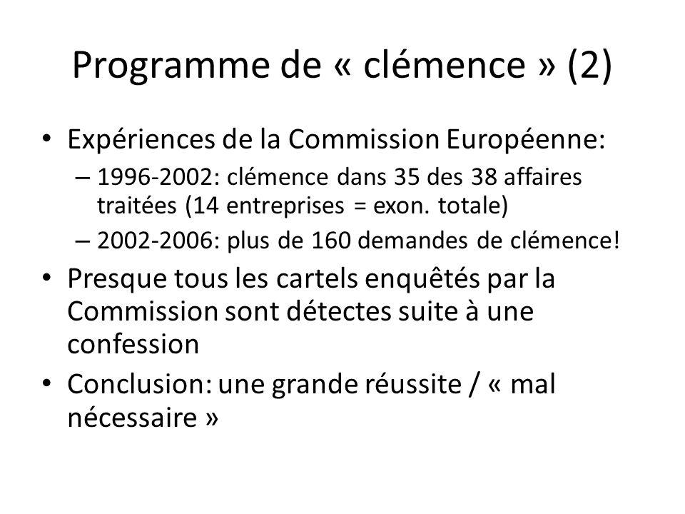 Programme de « clémence » (2) Expériences de la Commission Européenne: – 1996-2002: clémence dans 35 des 38 affaires traitées (14 entreprises = exon.