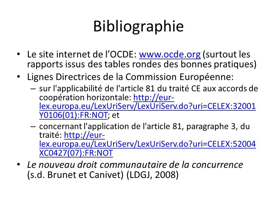 Bibliographie Le site internet de lOCDE: www.ocde.org (surtout les rapports issus des tables rondes des bonnes pratiques)www.ocde.org Lignes Directric