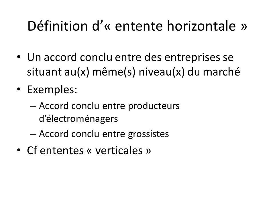 Définition d« entente horizontale » Un accord conclu entre des entreprises se situant au(x) même(s) niveau(x) du marché Exemples: – Accord conclu entr