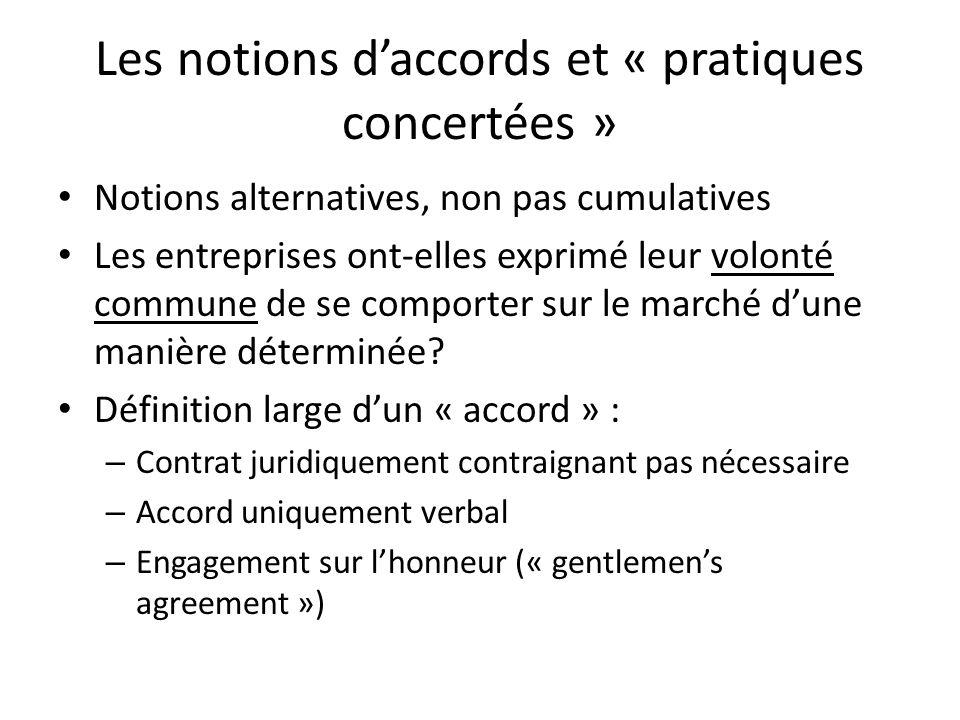 Les notions daccords et « pratiques concertées » Notions alternatives, non pas cumulatives Les entreprises ont-elles exprimé leur volonté commune de s