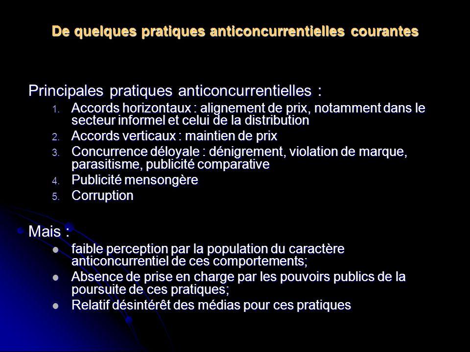 De quelques pratiques anticoncurrentielles courantes Principales pratiques anticoncurrentielles : 1.